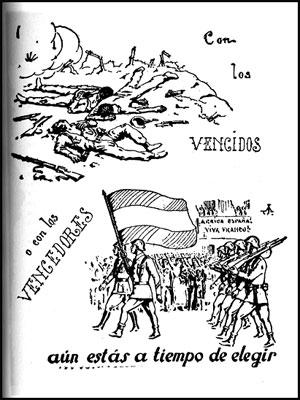 Historieta tomada del libro Balas de papel, Anecdotario de propaganda subversiva en la guerra civil española. José Manuel Granada